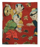 Silk Robe - Children Playing With Turtle Fleece Blanket