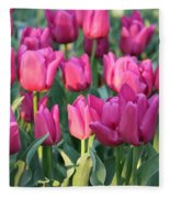 Silky Pink Tulips Fleece Blanket