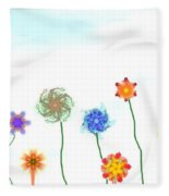 Silly Fractal Garden Fleece Blanket