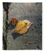 Silver Birch Leaves Lying On A Brick Path In A Cheshire Garden On An Autumn Day   England Fleece Blanket