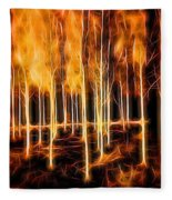 Silver Birches Flaming Abstract  Fleece Blanket