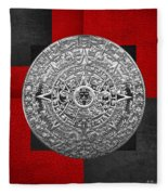Silver Mayan-aztec Calendar On Black And Red Leather Fleece Blanket