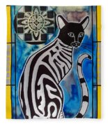 Silver Tabby With Mandala - Cat Art By Dora Hathazi Mendes Fleece Blanket