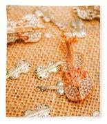 Silver Violin Pendant With Diamonds Fleece Blanket