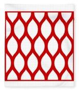 Simplified Latticework With Border In Red Fleece Blanket