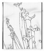 Simplistic Flower Sketch Fleece Blanket