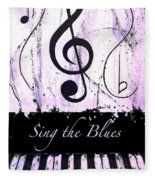 Sing The Blues Purple Fleece Blanket