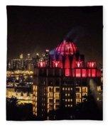Singapore At Night Fleece Blanket