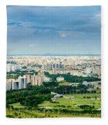 Singapore Cityscape Fleece Blanket