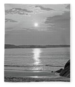 Singing Beach Rocky Sunrise Manchester By The Sea Ma Sand Black And White Fleece Blanket