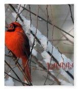 Singing Cardinal Christmas Card Fleece Blanket