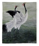 Singing Cranes Fleece Blanket