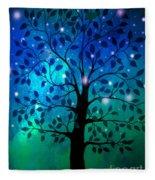 Singing In The Aurora Tree Fleece Blanket