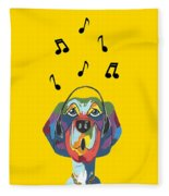 Singing The Blues - Dog Humor Fleece Blanket
