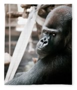 Single Gorilla Sitting Alone Fleece Blanket