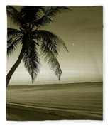 Single Palm At The Beach Fleece Blanket
