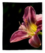 Single Pink Day Lily Fleece Blanket