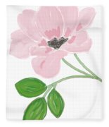 Single Pink Flower Fleece Blanket