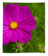 Single Purple Cosmos Flower Fleece Blanket