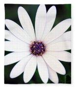 Single White Daisy Macro Fleece Blanket