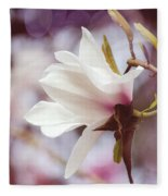 Single White Magnolia Fleece Blanket