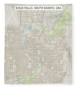 Sioux Falls South Dakota Us City Street Map Fleece Blanket