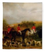 Sir Edmund Antrobus And The Old Surrey Fox Hounds At The Foot Of Fleece Blanket