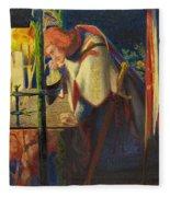 Sir Galahad At The Ruined Chapel Fleece Blanket