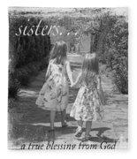 Sisters-black And White Fleece Blanket
