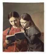 Sisters Reading A Book Fleece Blanket