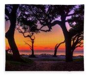 Sit With Me Driftwood Beach Sunrise Jekyll Island Georgia Fleece Blanket