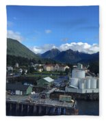 Sitka From The Waterfront Showing The Three Sisters In The Back 2015 Fleece Blanket
