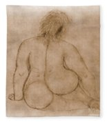 Sitting Fat Nude Woman Fleece Blanket