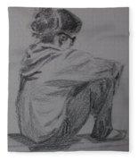 Sitting Girl Fleece Blanket