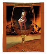 Sitting Nude In Glass Fleece Blanket