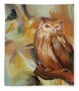 Sitting Owl Fleece Blanket