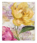 Sitting Pretty Peonies Fleece Blanket
