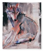 Sitting Wolf Fleece Blanket
