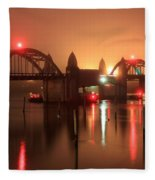 Siuslaw River Bridge At Night Fleece Blanket