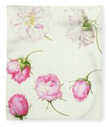 Six Heads Of Old Fashioned Roses Fleece Blanket