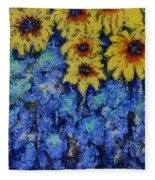 Six Sunflowers On Blue Fleece Blanket