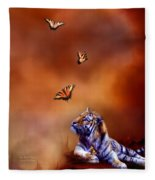 Six Wild Tigers Fleece Blanket