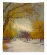 Skaha Path In Winter Fleece Blanket