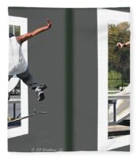 Skateboarder - Gently Cross Your Eyes And Focus On The Middle Image Fleece Blanket