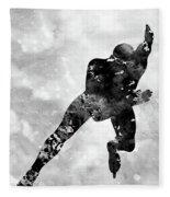 Skating Man-black Fleece Blanket