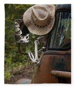 Skeleton Crew - Skeleton Driving A Vintage Truck Fleece Blanket