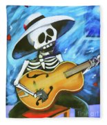 Skeleton Guitar Day Of The Dead  Fleece Blanket