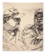 Sketch Men At Tims Fleece Blanket