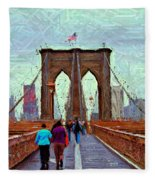Sketch Of Brooklyn Bridge Pedestrians Fleece Blanket