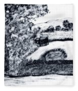 Sketch Of Country Scene Fleece Blanket